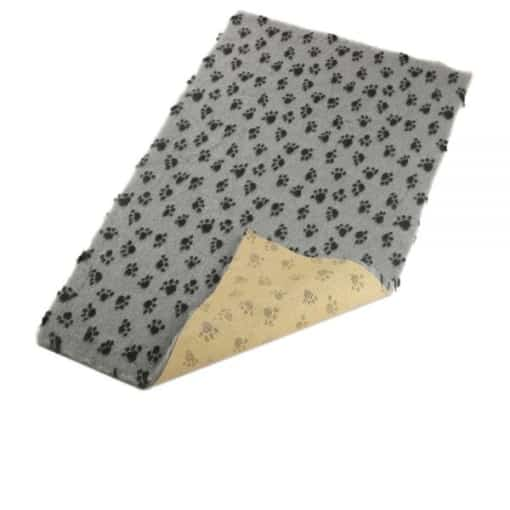 Grey with Paws Pattern - 85x55cm - Non-Slip Soft Vet Bedding