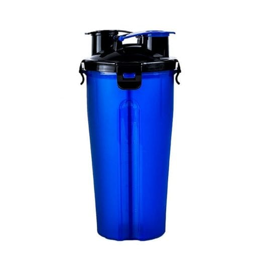 Portable Dual Chamber Bottle For Your Pet's Water And Food – Blue - pawsandtails.pet
