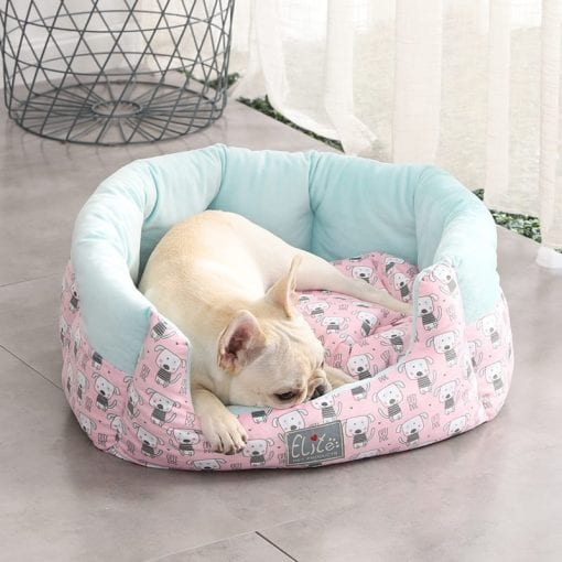 Pink & Blue Round Bed With Dog Pattern - pawsandtails.pet