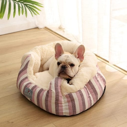 Pink Stripped Round Bed - pawsandtails.pet