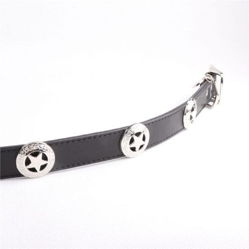 Leather Collar – Police Sheriff Style - pawsandtails.pet