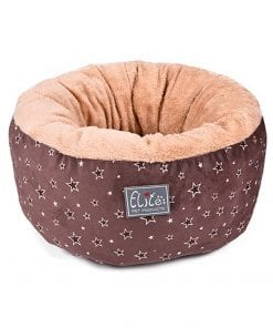 Brown Round Cushion Bed With Star Pattern - pawsandtails.pet