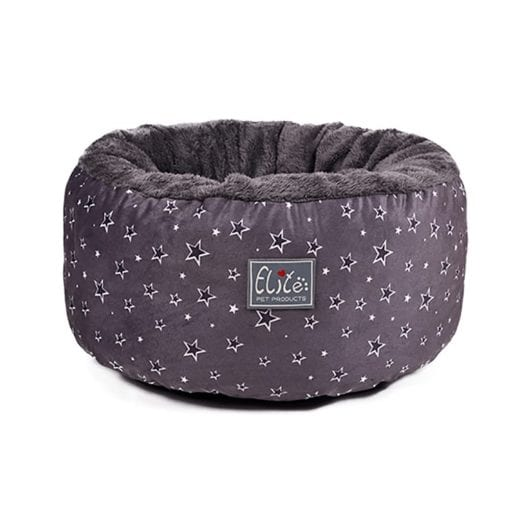 Grey Round Cushion Bed With Star Pattern - pawsandtails.pet