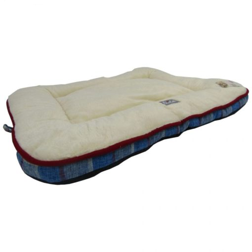 Cream Cushion With Blue And Grey Stripes - pawsandtails.pet