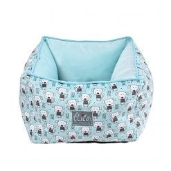 Blue Dog Bed With Dog Pattern - pawsandtails.pet