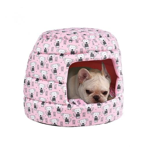 Pink Canopy Bed With Dog Pattern - pawsandtails.pet