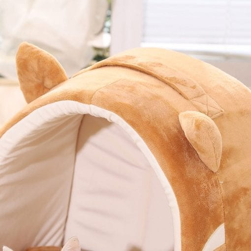 Brown Covered Bed With Ears - pawsandtails.pet