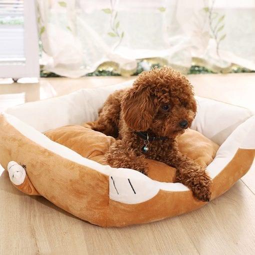 Brown Bed With Paws - pawsandtails.pet