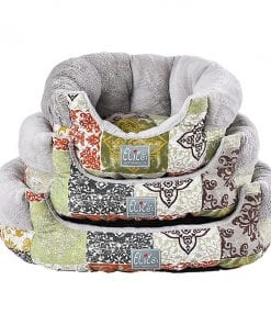 Grey Round Bed With Floral Pattern - pawsandtails.pet