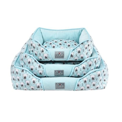 Blue Square Bed With Dog Pattern - pawsandtails.pet
