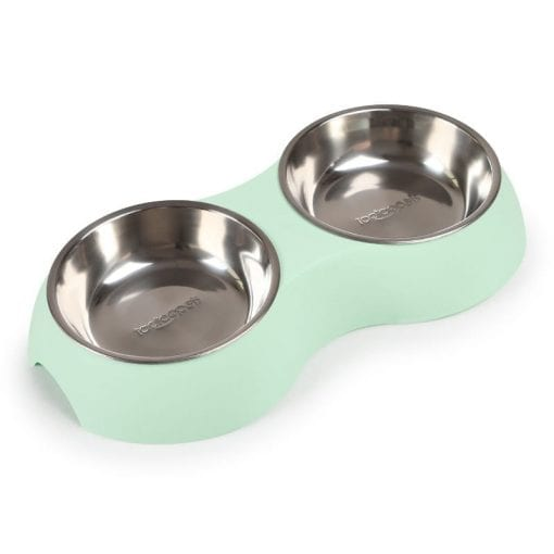 Large Stainless Steel Double Bowl Food & Water Bowls – Light Green - pawsandtails.pet