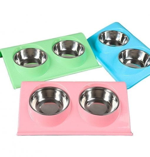 Large Double Bowls On Raised Stand – Non-splash - pawsandtails.pet
