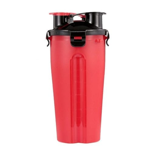 Portable Dual Chamber Bottle For Your Pet's Water And Food – Red - pawsandtails.pet