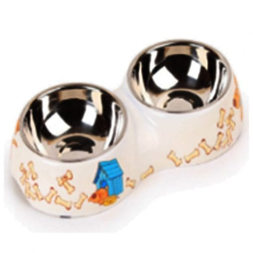 Doghouse Style Dog Double Bowl for Food and Water - pawsandtails.pet