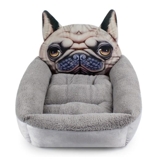 Pug Face Pet Bed for Dogs in Grey - pawsandtails.pet