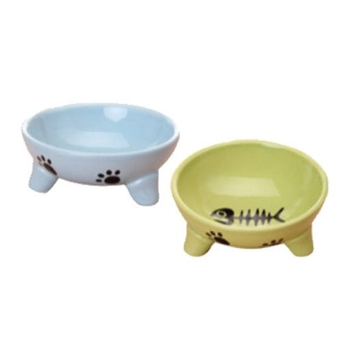 Ceramic Raised Pet Bowl for Cat- Food or Water Bowl – 2 Colours - pawsandtails.pet